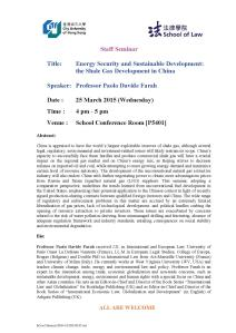 Paolo Davide Farah - Lecture City University of Hong Kong March 25, 2015